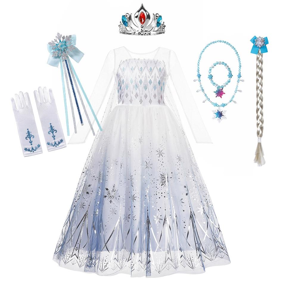 Disfraz de fiesta de Halloween Snow Queen 2 para niñas Vestido largo de Elsa blanca Vestido de princesa de imitación vestidos de manga larga copo de nieve Vestido estampado