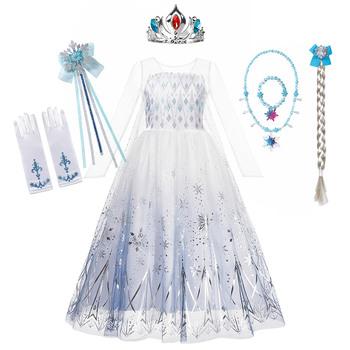 Królowa śniegu 2 kostium na Halloween dla dziewczynek biała Elsa długa sukienka księżniczka udawaj sukienki z długim rękawem śnieżynka drukuj Vestido tanie i dobre opinie DOCHEER CN (pochodzenie) COTTON Poliester Satin Mesh Połowy łydki Pasuje prawda na wymiar weź swój normalny rozmiar