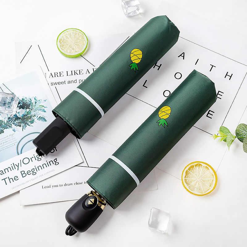 Corée frais clair parapluie petit ananas mignon parapluie automatique protection solaire UV parapluie pour les femmes et les étudiants