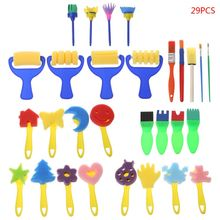 29PCS/SET Washable Sponge Painting Brushes Set for Kids Children Toddler Early Education Learning Toys Art Supplies Gifts