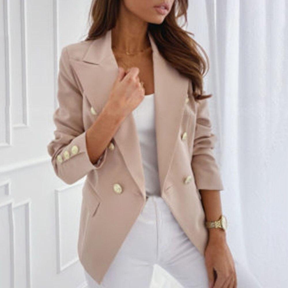 Fashion Casual Blazer Women Elegant Slim Casual Solid Business Blazer Bodycon Long Blazers Jacket Ladies Spring Autumn Suit