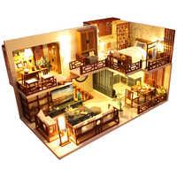 Casa de muñecas Cutebee DIY casas de muñecas de madera miniatura Casa de muñecas Kit de muebles juguetes para niños Año Nuevo navidad regalo Casa M025