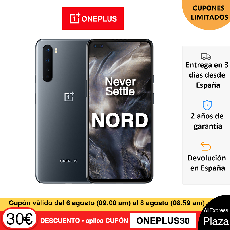 Versión global OnePlus Nord 5G Smartphone Snapdragon 765G 8GB 128GB 6.44'' 90Hz Pantalla AMOLED 48MP Cámaras traseras cuádruples 30W Warp