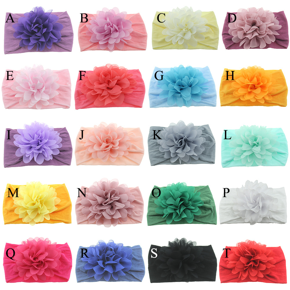 Big Flower Decorate Headband Baby Girls Soft Elastic Wide Hair Band Solid Turban