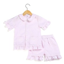 Girls ruffle pajamas 100% cotton summer short sleeve pajama