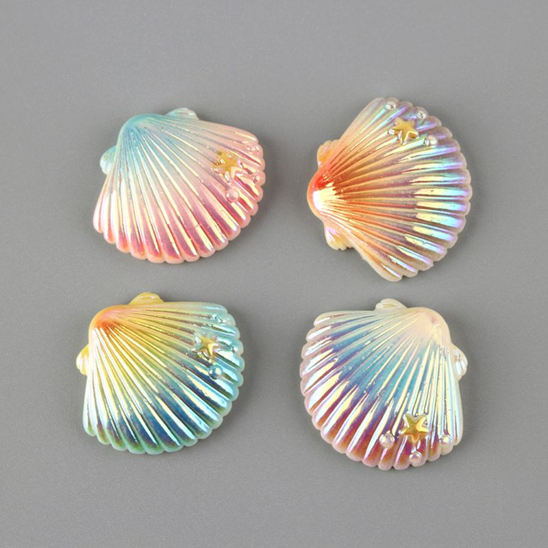 2020 New 50Pcs Gradient AB Holographic Resin Shell Flat Back Cabochon DIY Scrapbooking