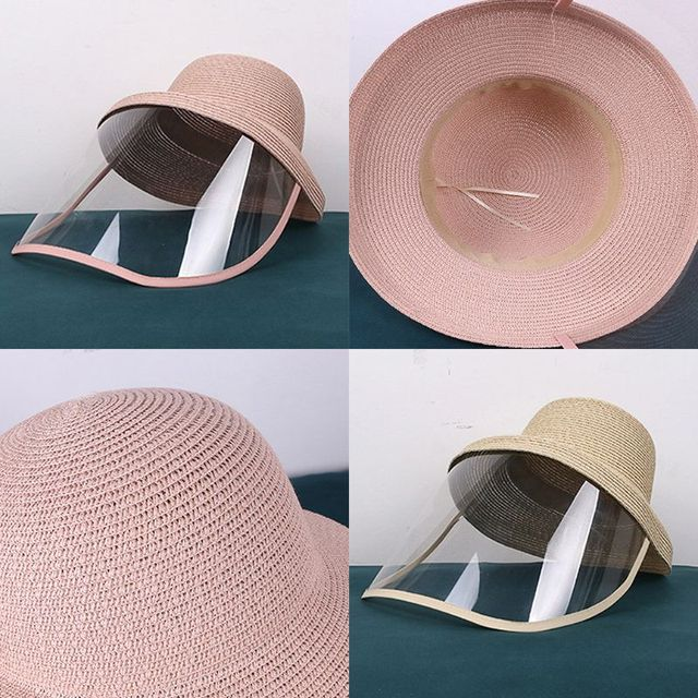 Women Beach Straw Sun Hat with Anti-Spitting Splash Protective Face Shield Anti-Fog Saliva Dustproof Mask Fisherman Cap 1