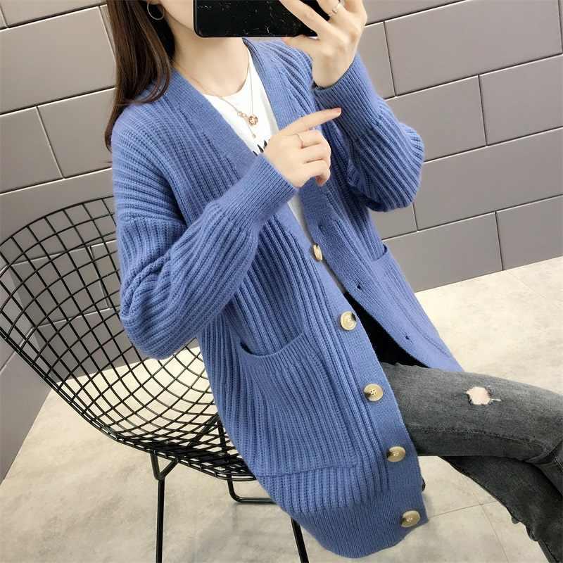 5160 г. (1 место № 1) Новая Осенняя однобортная одежда кардиган, свитер, платье с карманами 58