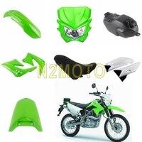 Motocross Plastic Fairing Kit For Kawasaki KLX150 KLX150S 2009 2012 Off Road Motorcycle Headlight Seat Cushion Oil Gas Tank Set