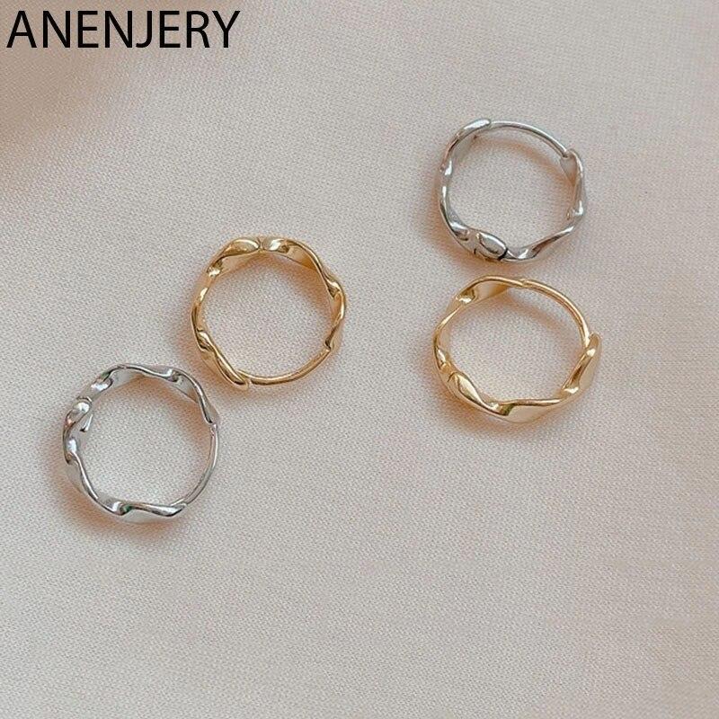 ANENJERY 925 boucles d'oreilles en argent Sterling pour femmes fille torsion vague boucles d'oreilles élégant prévenir l'allergie bijoux S-E1350