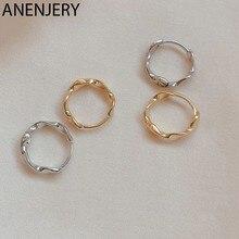 ANENJERY 925 Sterling Silber Hoop Ohrringe für Frauen Mädchen Twist Welle Ohrringe Elegante Verhindern Allergie Schmuck S-E1350