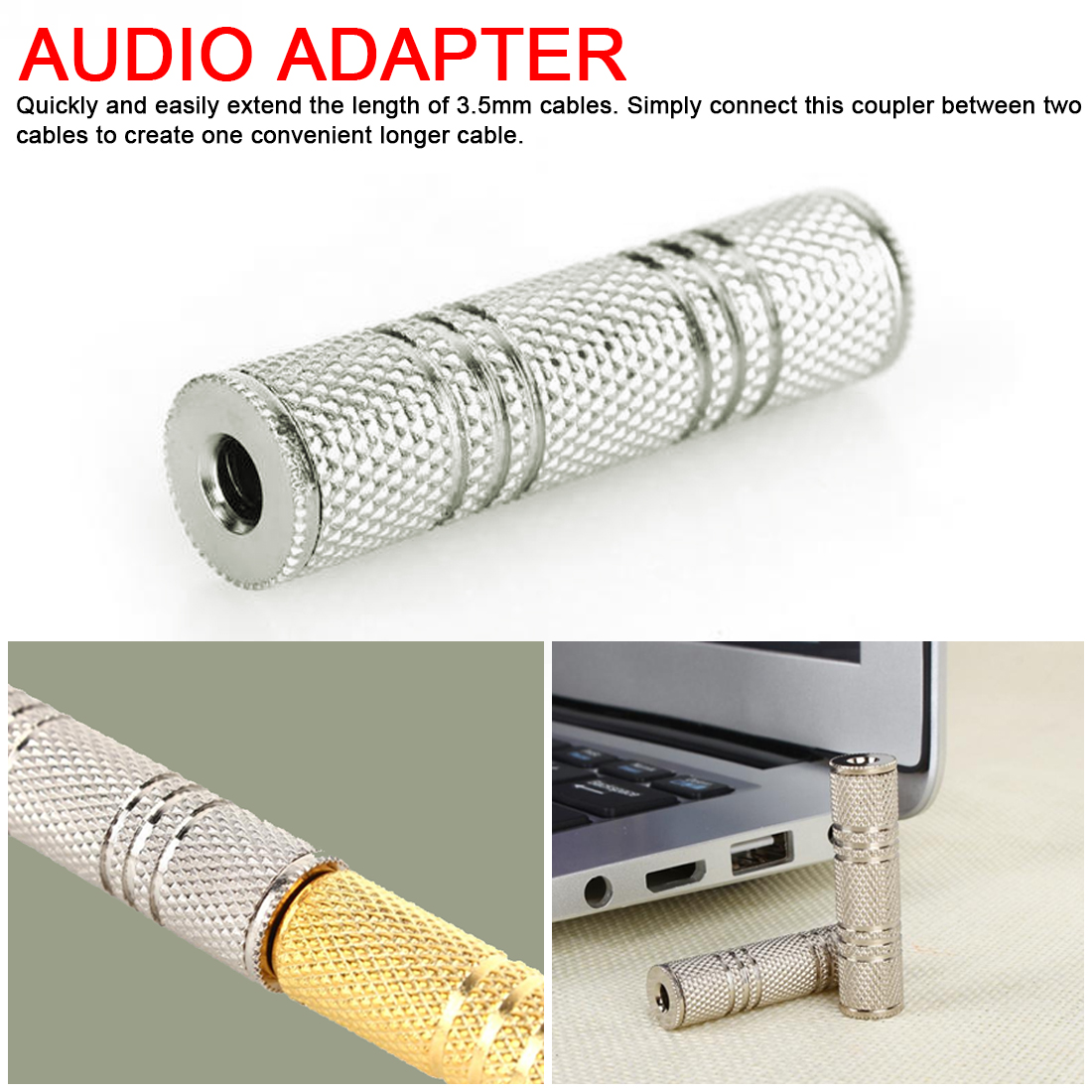 3.5mm Jack Female To 3.5 Mm Female Connector Audio Headphone Jack Coupler Adaptor Connectorheadphone Adapter,headphone Adapter
