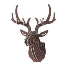 3D деревянные животные голова оленя арт модель дома офиса стены висячие украшения для хранения решетка-держатель подарок ремесло Домашний декор