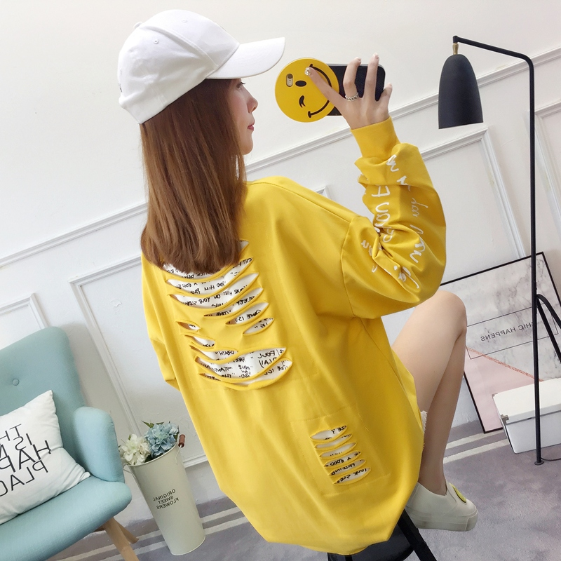 2019 autumn new Korean version of the XL T-shirt women's thin section long-sleeved loose hole wild T-shirt shirt women 65