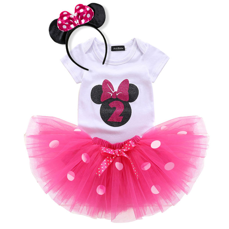 Minnie Mouse Light Pink 2nd Second Birthday Shirt Tutu Outfit Set Party girl