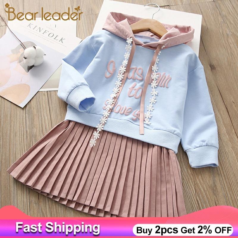 Bear Leader Girls Dress 2020 New Spring Casual Ruffles A-Line Striped Full Sleeve Kids Dress For 3T-7T