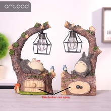 Artpad Hayao Miyazaki Cartoon Totoro Night Light Japanese Resin Art Decro Cute LED Totoro Lamp for Gift Home Decor Fixtures