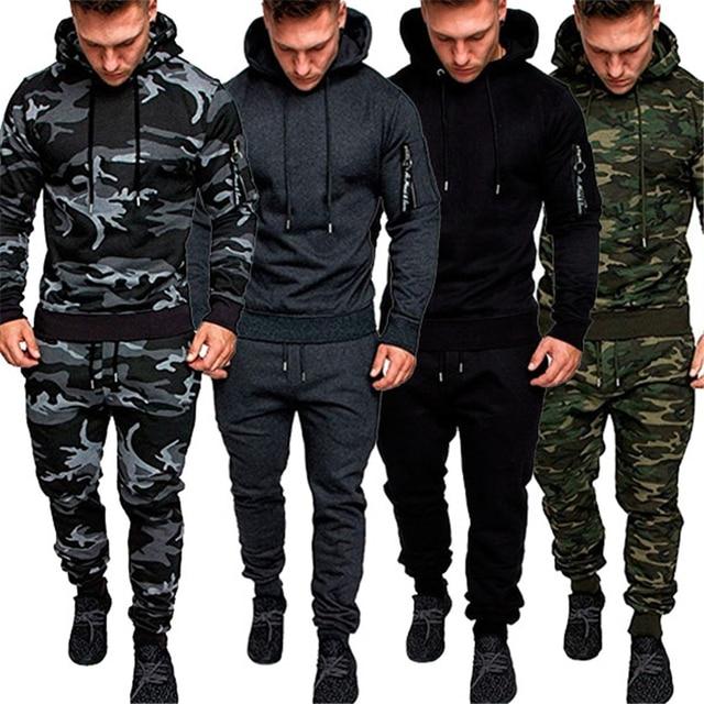 Pants Tracksuit Mens Casual Camo Military Sports Combat Sweatshirt Hoodie Tops