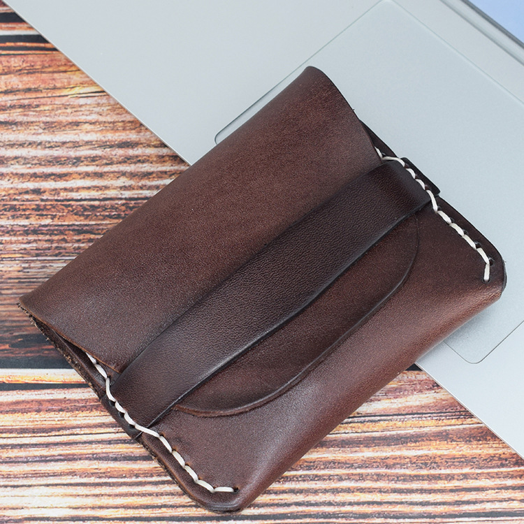 Supply Of Goods Genuine Leather Skeleton-skin Simple New Ultra-Thin Handmade Stitching Purse Driving License Wallet