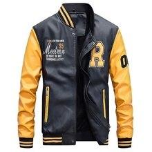 Chaqueta de béisbol bordada de piel sintética para hombre, chaqueta de piloto para la universidad de forro polar de lujo, ajustada, con cuello levantado