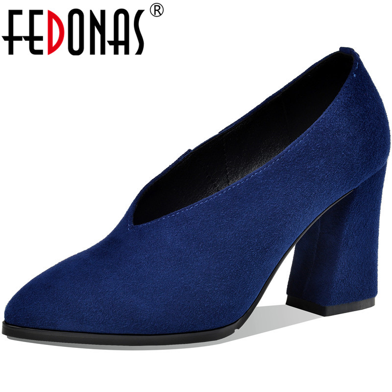 FEDONAS Kid Suede Pointed Toe Women Shoes Vintage New Arrival High Heels Pumps 2020 Summer Autumn Party Working Shoes Woman