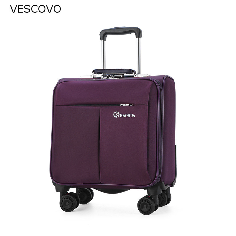 VESCOVO Waterproof Oxford Cloth 18Inch Trolley Travel Suitcase With Spinner Wheels Men Women Carry-ons Boarding Luggage Bag
