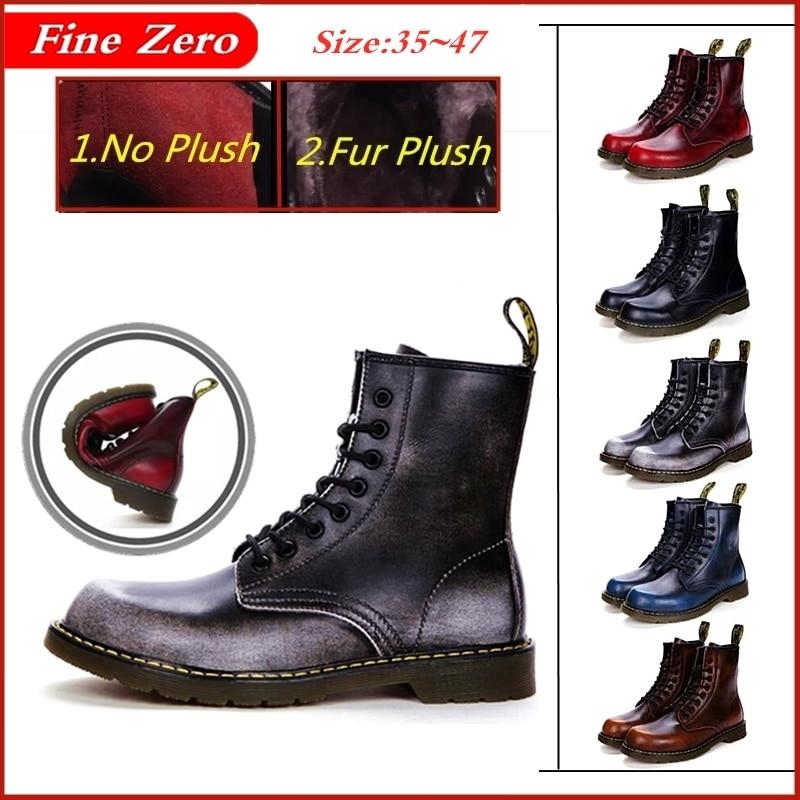 Size 35~47 Unisex Cowhide Leather Warm Fur Doc Boots Winter Autumn Shoes Men's Motorcycle Ankle Snow Boots Couple Oxfords Boots