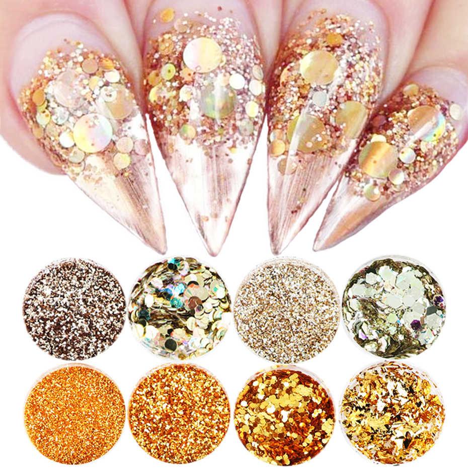 17 Ontwerp Holografische Nail Glitter Mix Set Aluminium Rose Gold Pailletten Glitter Shining Pailette Nail Art Poeder Manicure CH1506