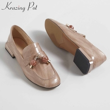 Loafers Women Pendant Krazing-Pot Brand Shoes Genuine-Leather Pumps Low-Heels Round-Toe