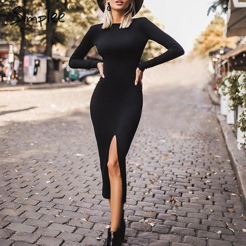 Simplee Sexy Bodycon Dress Elegant Office Lady Autumn O-neck Long Sleeve Dress Backless Work Wear Slim Fit Long Party Dress
