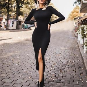 Image 1 - Simplee Sexy Bodycon dress Elegant office lady autumn o neck long sleeve dress Backless work wear slim fit long party dress