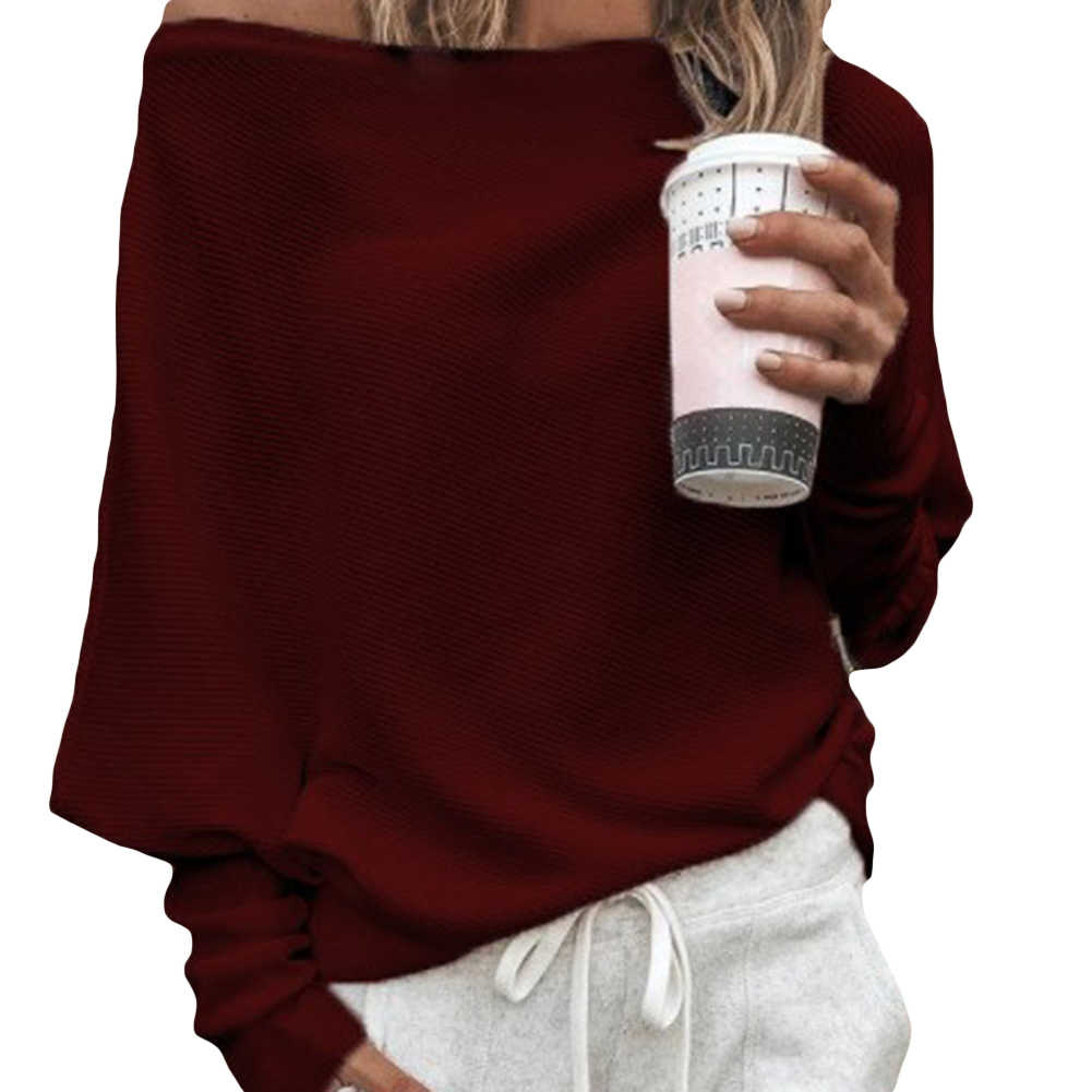 섹시한 여성 솔리드 컬러 오프 숄더 긴 소매 스웨터 루즈 니트 풀오버