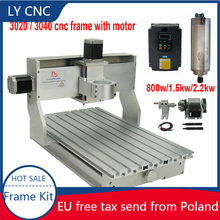 CNC Router Frame Kit 3020 3040 Engraving Machine Frame 800w 1.5kw 2.25w spindle inverter with rotary axis With Stepper Motor