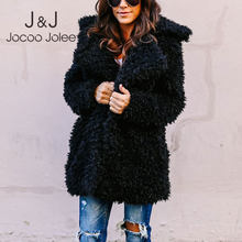 Jocoo Jolee Women Europe Style Fluffy Faux Fur Jackets Female Thicken Winter Fake Fur Pink Black Coat Fashion Cardigan Overcoats(China)