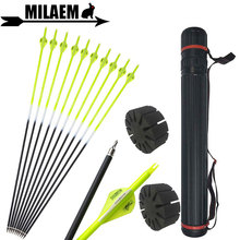 6/12pcs 31.5inch Archery Carbon Arrow With Quiver Spine 500 ID6.2mm 2inch Rubber Feather Hunting Shooting Accessories