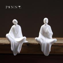 PINNY Chinese Dehua White Porcelain Zen Statue Buddha Decoracion Estatua Ceramic Ornaments Home Decoration Accessories Chinaware