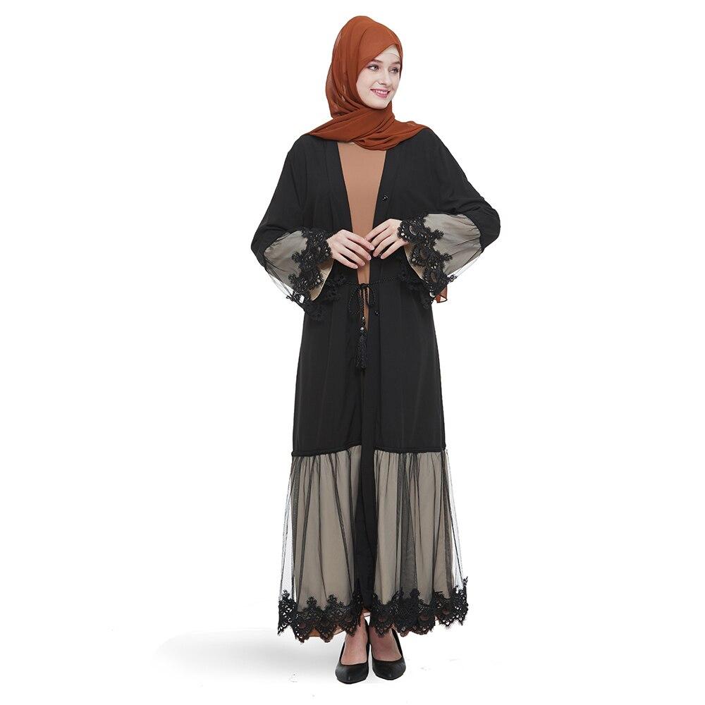 Black Lace Dubai Abaya Turkish Kimono Cardigan Hijab Muslim Dress Women Robe Pakistan Caftan Marocain Kaftan Islamic Clothing