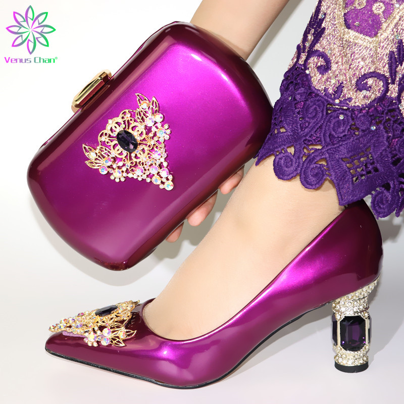 Fashion Shoes And Bag Set African Sets Purple Color Italian Shoe Bag Set Decorated With Rhinestone High Quality