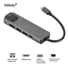 "4K USB C רכזת כדי Gigabit Ethernet Rj45 Lan 5 ב 1 USB סוג C Hub Hdmi מתאם עבור mac book Pro Thunderbolt 3 USB C מטען פ""ד"
