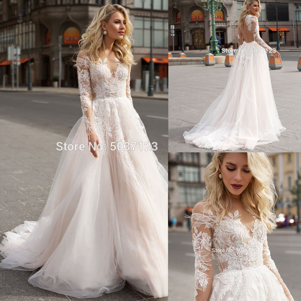 Long Sleeves Wedding Dresses A Line Lace Appliques Scoop Bridal Gown Floor Length Backless Vestido De Noiva Custom
