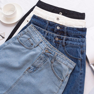 Image 4 - Lucyever Fashion Korean Spring Summer Women Denim Skirt High Waist Mini Skirts Jeans Plus Size Harajuku Cotton Girls Black Skirt