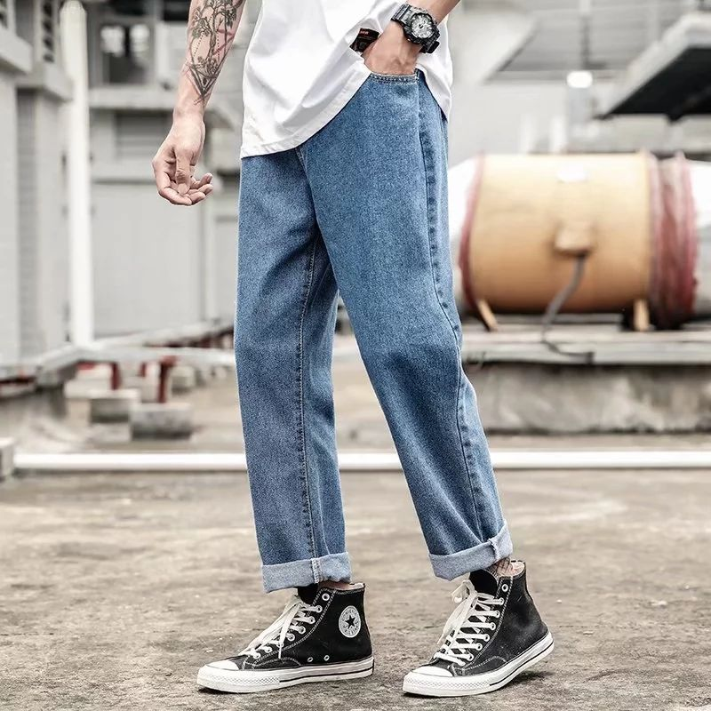 2019 Jeans Korean Fashion Boys Hong Kong Wind Pants Loose Straight Solid Color Tide Pants