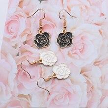 2019 Lovely Roseflower Drop Earrings For Women Girls Colorful Plant Enamel Hanging Dangle Female Cute DIY Jewelry Gifts