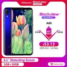 الهاتف الذكيblackview A60 بطارية 4080mAh 19:9 6.1 بوصة كاميرا مزدوجة 1GB RAM 16GB ROM الهاتف المحمول 13MP + كاميرا 5MP