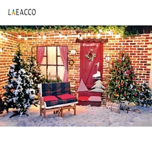 Laeacco Christmas Photography Backgrounds Customized Outdoor Snow Vinyl Baby Photocall Photographic Backdrops For Photo Studio