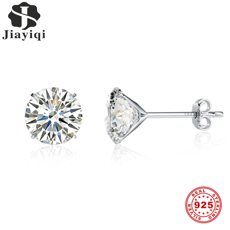 Jiayiqi Real 925 Sterling Silver Earrings 3-8mm Four Claws Crystal Zircon Silver Stud Earrings For Women Sterling Silver Jewelry
