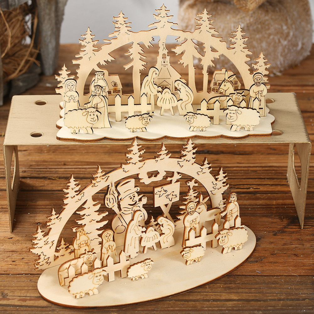 <font><b>Christmas</b></font> Decoration Wooden DIY 3D Desktop Ornaments Creative Diy Decoration <font><b>Christmas</b></font> Window Display Xmas Party Home Decor Gift image