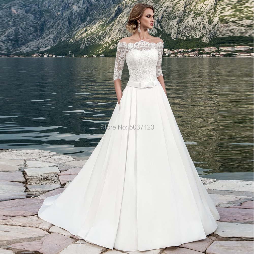 Satin Off The Shoulder Wedding Dresses Half Sleeves Bridal Gowns Lace Appliques Button Illusion Sweep Train Vestido De Noiva