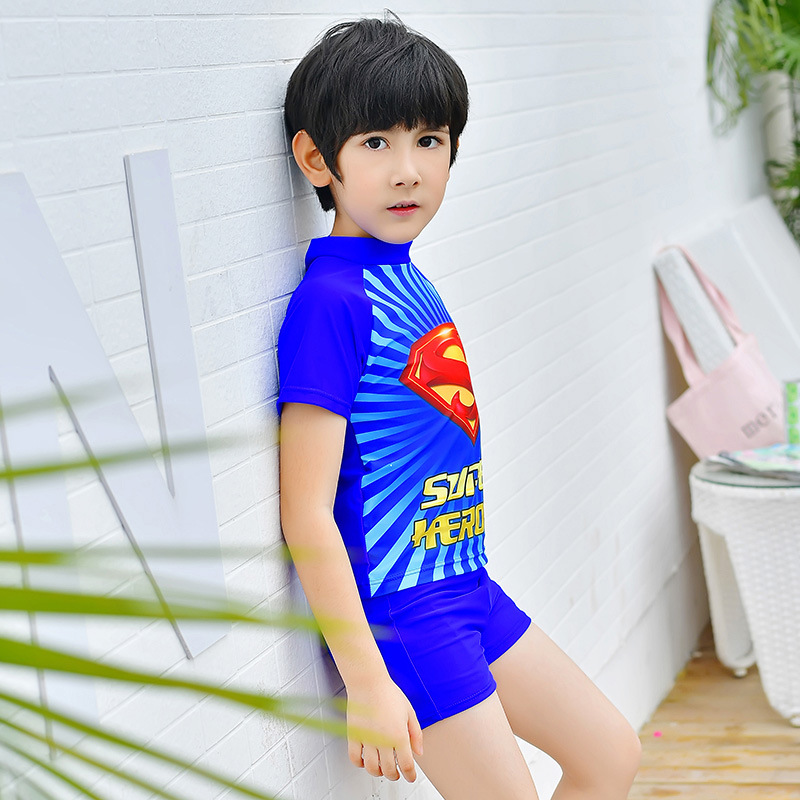 New Style Children Two-piece Swimsuits BOY'S Printed Cartoon Superman Bathing Suit Large Children Boxers Spa Resort