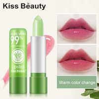 Bálsamo labial hidratante 99% Aloe Vera, bálsamo labial Natural que cambia con la temperatura, pintalabios de larga duración, protege los labios, cuida los labios, TSLM2